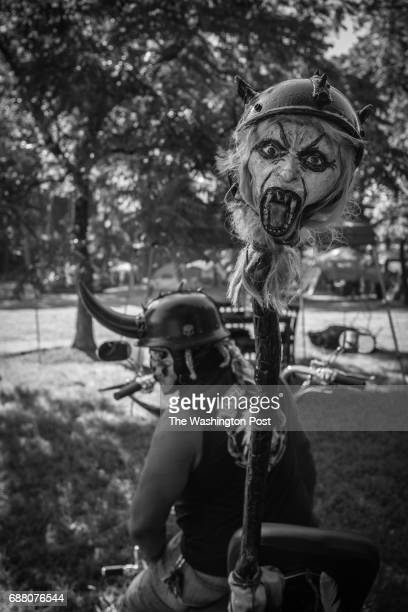 LIGNUM VA 7/23/16 Archie Newman aka 'Doc' or 'Witchdoctor' cools out on his bike Doc has been coming to Mustock for 9 years He's very serious...