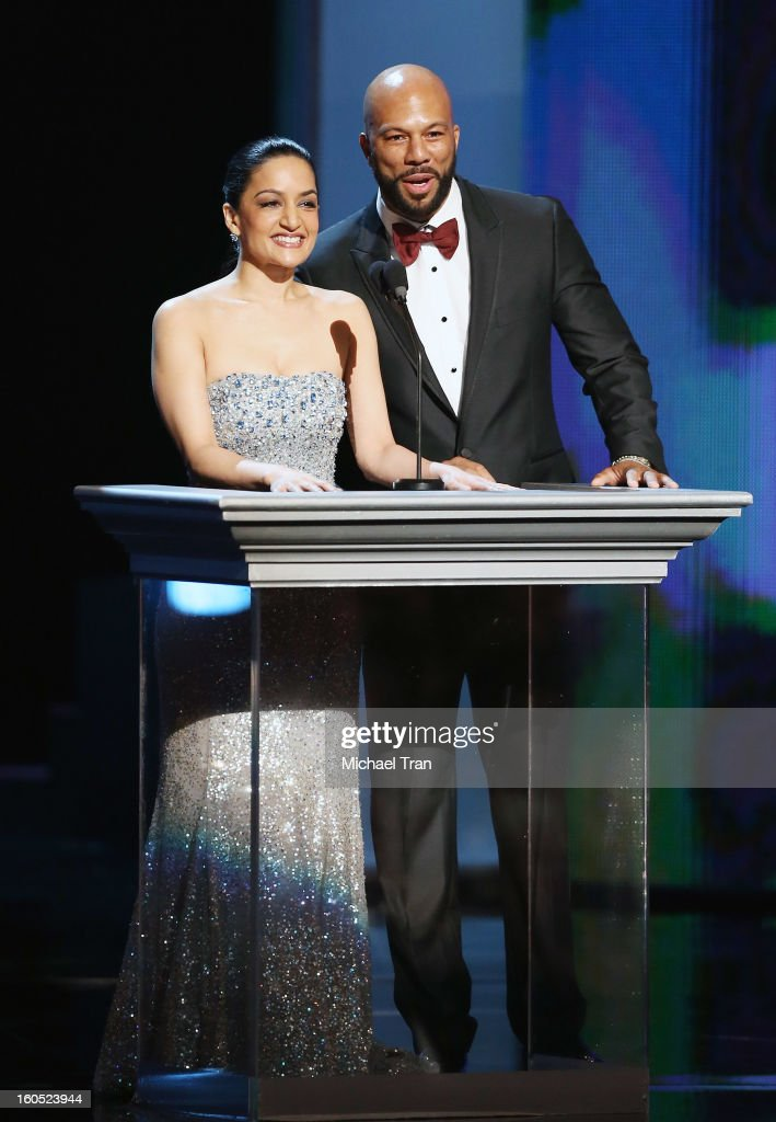 Archie Panjabi and Common speak onstage at the 44th NAACP Image Awards - show held at The Shrine Auditorium on February 1, 2013 in Los Angeles, California.