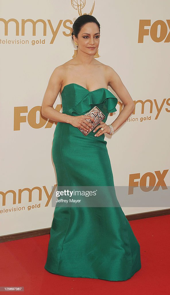 <a gi-track='captionPersonalityLinkClicked' href=/galleries/search?phrase=Archie+Panjabi&family=editorial&specificpeople=811427 ng-click='$event.stopPropagation()'>Archie Panjabi</a> arrives at the 63rd Primetime Emmy Awards at the Nokia Theatre L.A. Live on September 18, 2011 in Los Angeles, California.