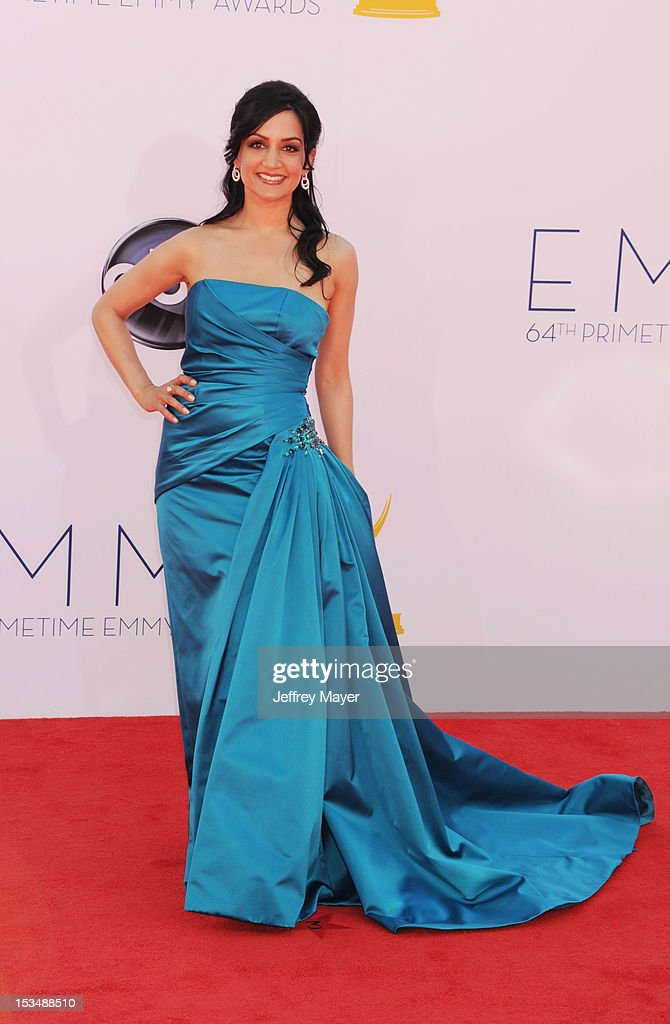 Archie Panjabi arrives at the 64th Primetime Emmy Awards at Nokia Theatre L.A. Live on September 23, 2012 in Los Angeles, California.