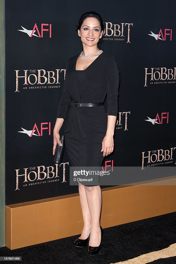 Archie Panjabi attends 'The Hobbit: Unexpected Journey' premiere at the Ziegfeld Theater on December 6, 2012 in New York City.
