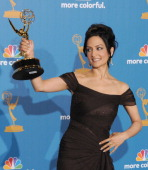 Archie Panjabi poses in the press room with the award for ' Outstanding Supporting Actress in a Drama Series' for 'The Good Wife' at the 62nd...