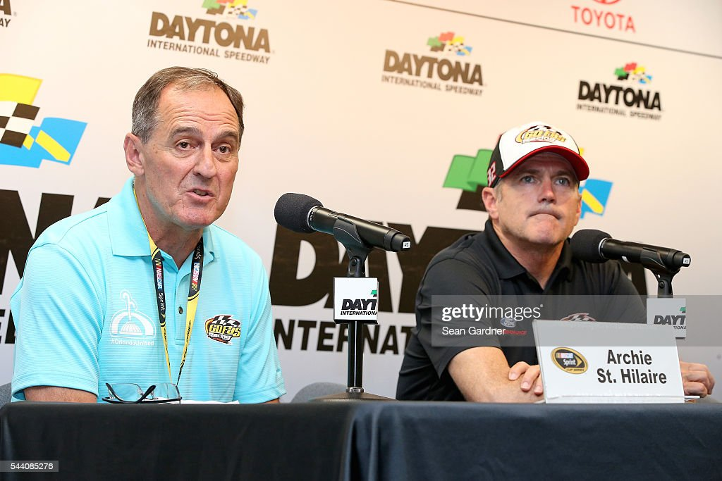 Archie St. Hilaire, a team owner, and Bobby Labonte, driver of the #32 OneOrlando Fund Ford, speak to the media during a press conference after practice for the NASCAR Sprint Cup Series Coke Zero 400 at Daytona International Speedway on July 1, 2016 in Daytona Beach, Florida.