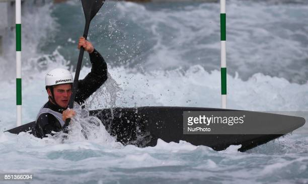Archie Symes of Holme Pierrepont CC J16 competes in Kayak Men during the British Canoeing 2017 British Open Slalom Championships at Lee Valley White...