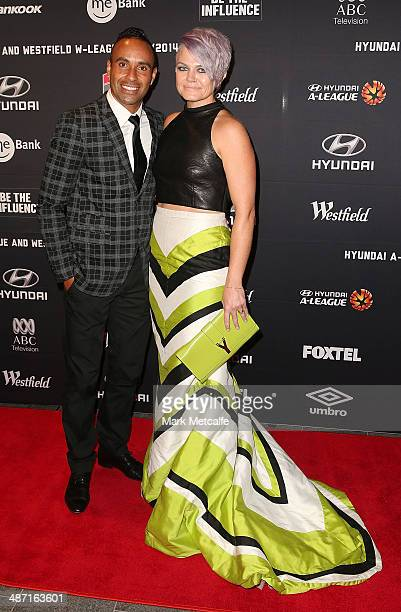 Archie Thompson and Emmy Thompson arrive at the FFA ALeague WLeague Awards Night at Royal Randwick Racecourse on April 28 2014 in Sydney Australia