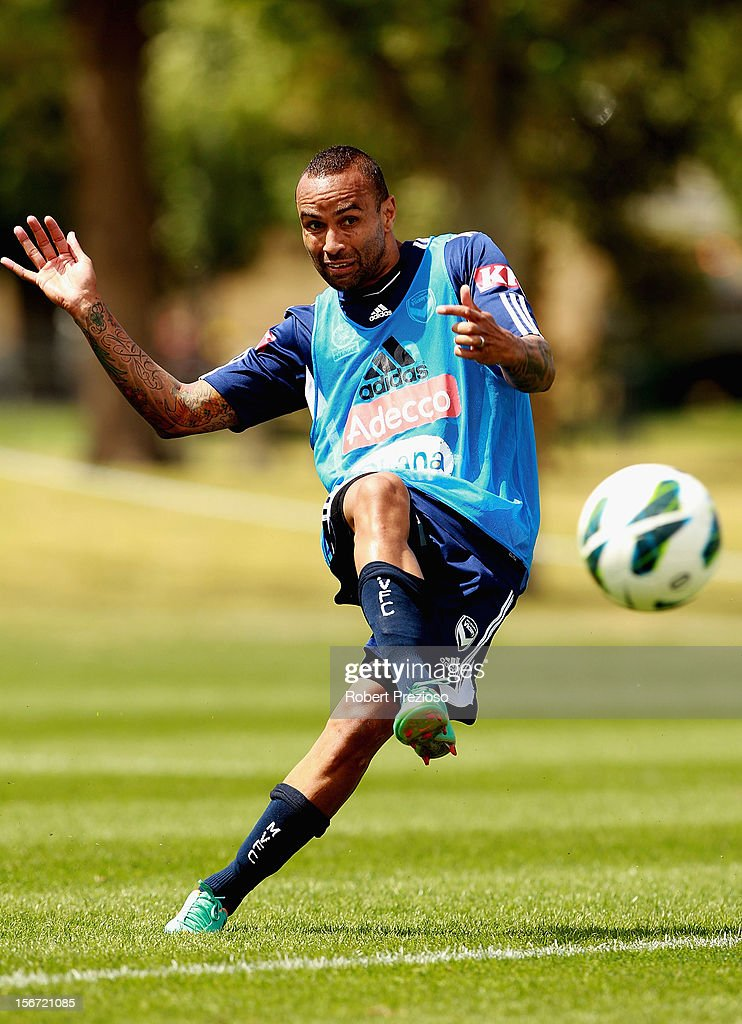 Archie Thompson kicks the ball during a Melbourne Victory A-League training session at Gosch's Paddock on November 20, 2012 in Melbourne, Australia.