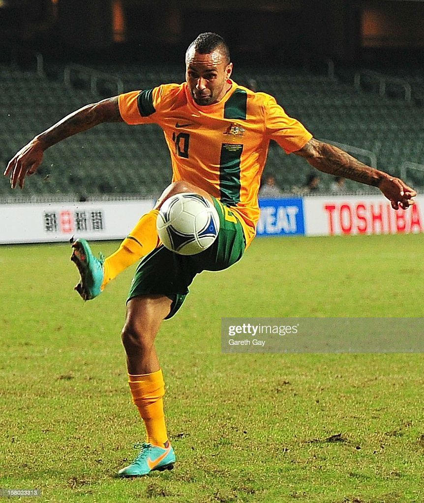 Archie Thompson of Australia controls the ball during the EAFF East Asian Cup 2013 Qualifying match between Chinese Tapei and the Australian Socceroos at Hong Kong Stadium on December 9, 2012 in So Kon Po, Hong Kong.