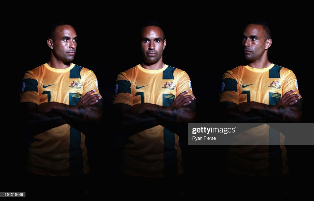 <a gi-track='captionPersonalityLinkClicked' href=/galleries/search?phrase=Archie+Thompson&family=editorial&specificpeople=545649 ng-click='$event.stopPropagation()'>Archie Thompson</a> of Australia poses during a Socceroos Portrait Session on March 21, 2013 in Sydney, Australia.