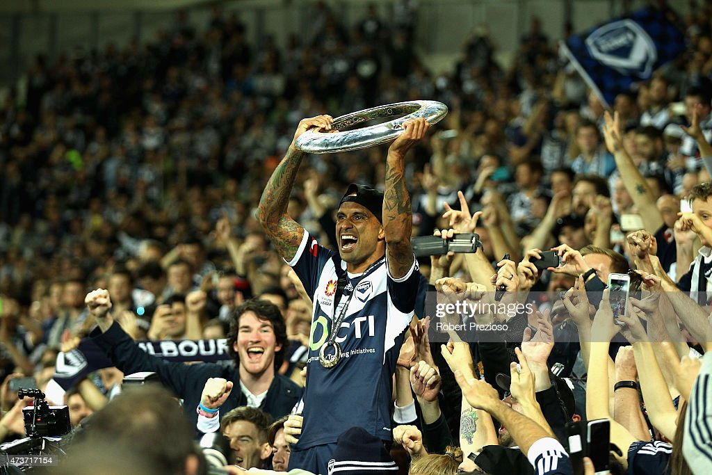 Archie Thompson of Melbourne thanks fans after a win during the 2015 ALeague Grand Final match between the Melbourne Victory and Sydney FC at AAMI...