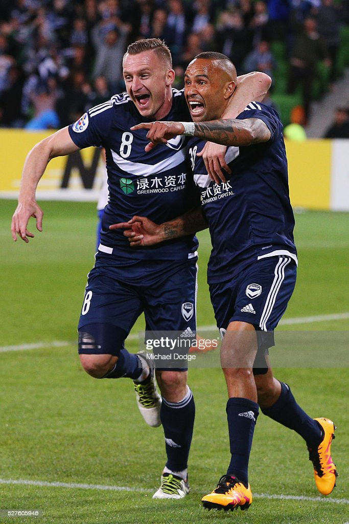 Archie Thompson of the Victory (R) celebrates a goal with Besart Berisha during the AFC Champions League match between Melbourne Victory and Gamba Osaka at AAMI Park on May 3, 2016 in Melbourne, Australia.