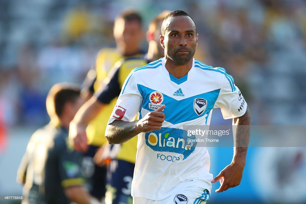 Archie Thompson of the Victory celebrates after scoring during the round 18 ALeague match between the Central Coast Mariners and the Melbourne...