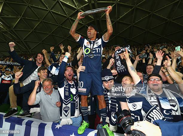Archie Thompson of the Victory celebrates after the Victory defeated Sydney FC the 2015 ALeague Grand Final match between the Melbourne Victory and...