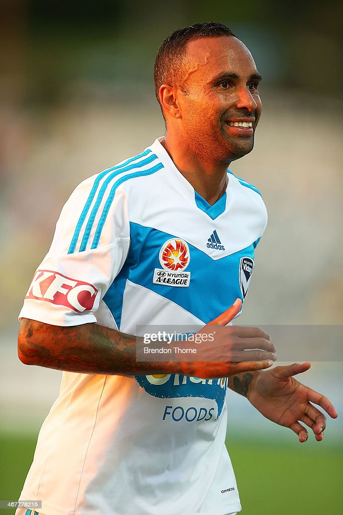 Archie Thompson of the Victory celebrates at full time during the round 18 ALeague match between the Central Coast Mariners and the Melbourne Victory...