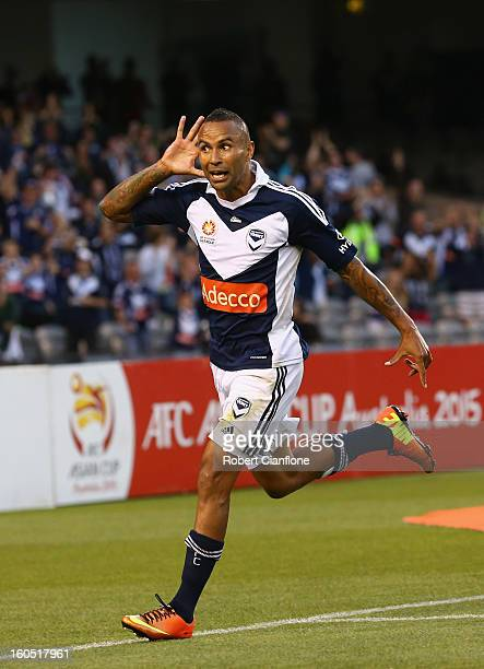 Archie Thompson of the Victory celebrates his goal during the round 19 ALeague match between the Melbourne Victory and the Melbourne Heart at Etihad...