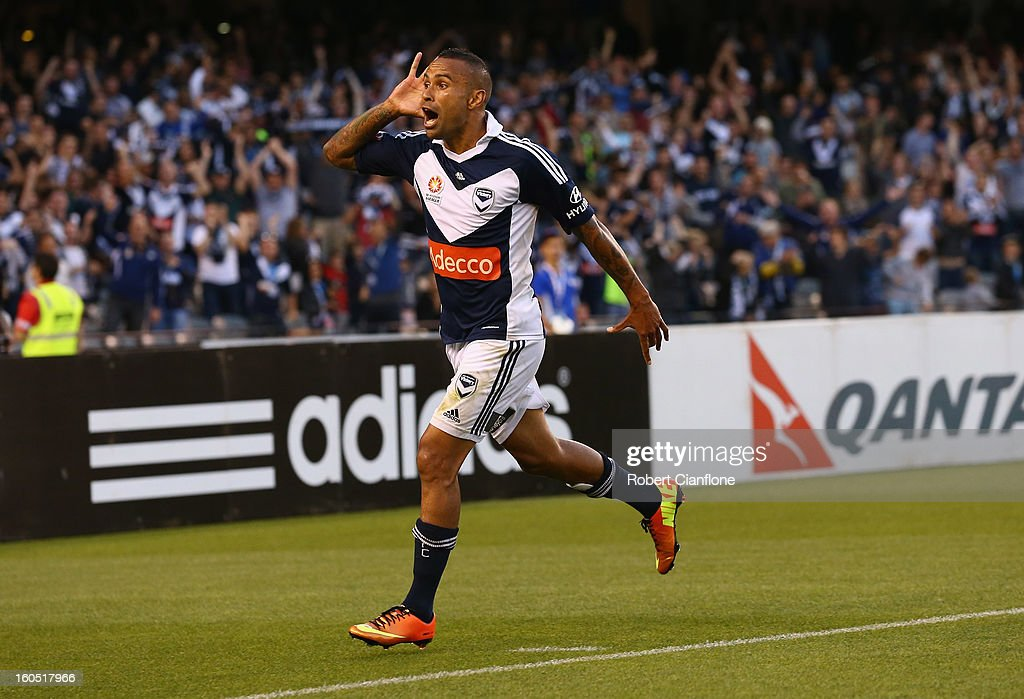 <a gi-track='captionPersonalityLinkClicked' href=/galleries/search?phrase=Archie+Thompson&family=editorial&specificpeople=545649 ng-click='$event.stopPropagation()'>Archie Thompson</a> of the Victory celebrates his goal during the round 19 A-League match between the Melbourne Victory and the Melbourne Heart at Etihad Stadium on February 2, 2013 in Melbourne, Australia.