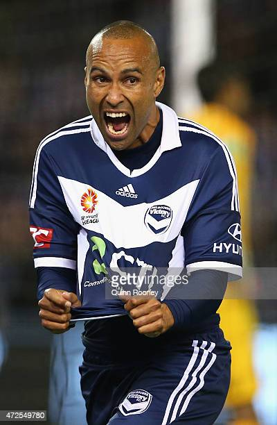 Archie Thompson of the Victory celebrates scoring a goal during the ALeague semi final match between Melbourne Victory and Melbourne City at Etihad...