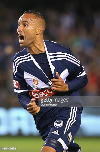 Archie Thompson of the Victory celebrates scoring a goal during the ALeague Elimination Final match between the Melbourne Victory and Sydney FC at...