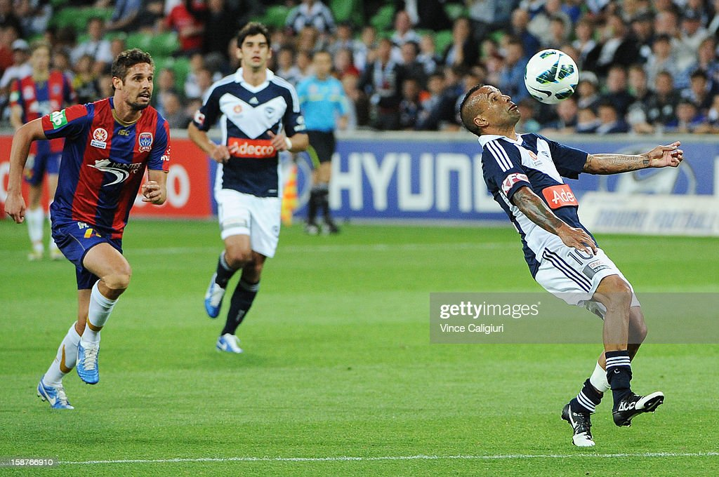 Archie Thompson of the Victory controls the ball during the round 13 A-League match between the Melbourne Victory and the Newcastle Jets at AAMI Park on December 28, 2012 in Melbourne, Australia.