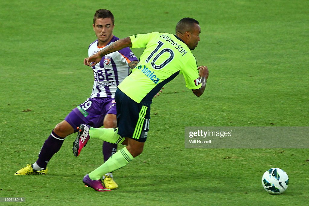 Archie Thompson of the Victory controls the ball during the round 17 A-League match between the Perth Glory and the Melbourne Victory at nib Stadium on January 19, 2013 in Perth, Australia.