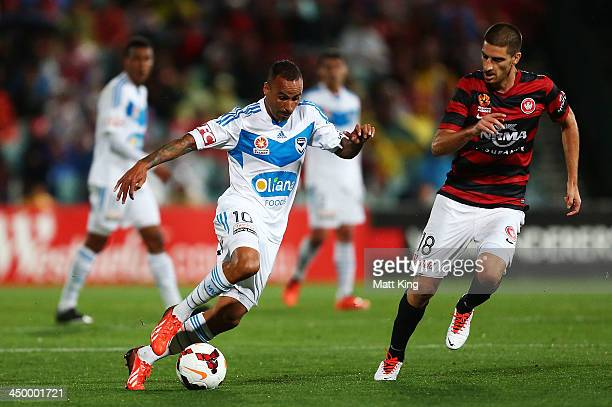 Archie Thompson of the Victory controls the ball during the round six ALeague match between the Western Sydney Wanderers and the Melbourne Victory at...