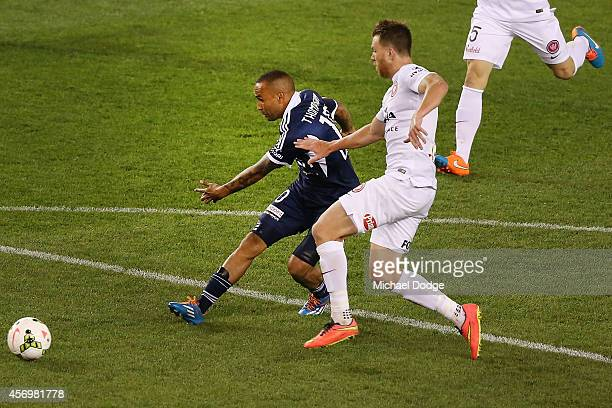 Archie Thompson of the Victory kicks a goal during the round one ALeague match between Melbourne Victory and the Western Sydney Wanderers at Etihad...