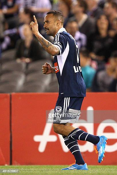 Archie Thompson of Victory celebrates after scoring a goal during the round seven ALeague match between Melbourne Victory and Adelaide United at...