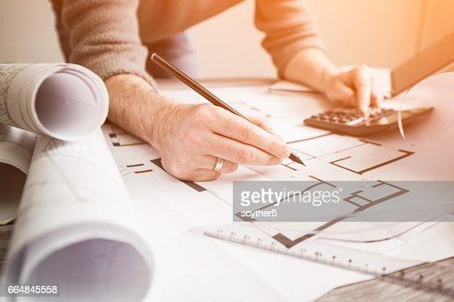 architecte architecture dessin projet plan directeur travaillant de design designer : Photo