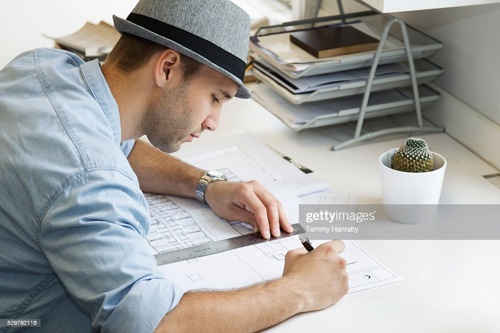 Architect at work : Foto de stock