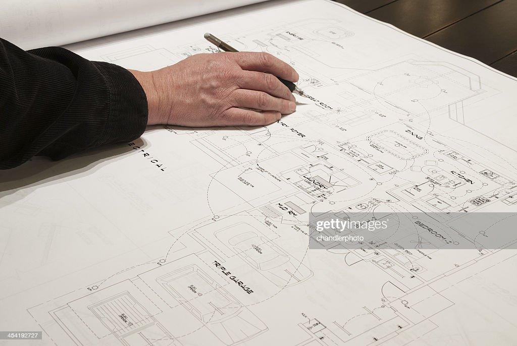 Arquiteto de desenho : Foto de stock