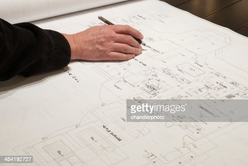 Dibujo de un arquitecto : Foto de stock