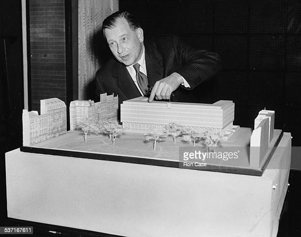 Architect Eero Saarinen with the model of the new proposed US Embassy in London June 5th 1956