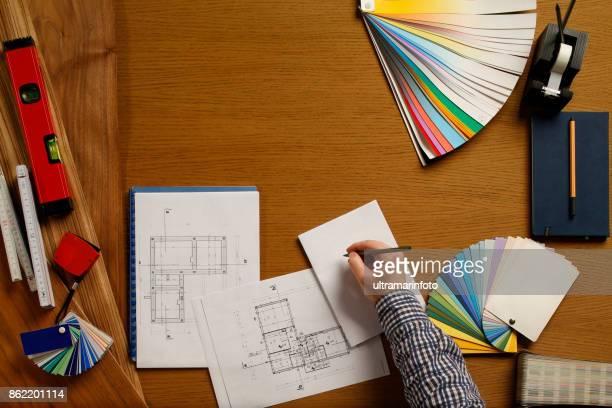 Architekt Ingenieur Schreibtisch Hintergrund Projekt Ideen Konzept