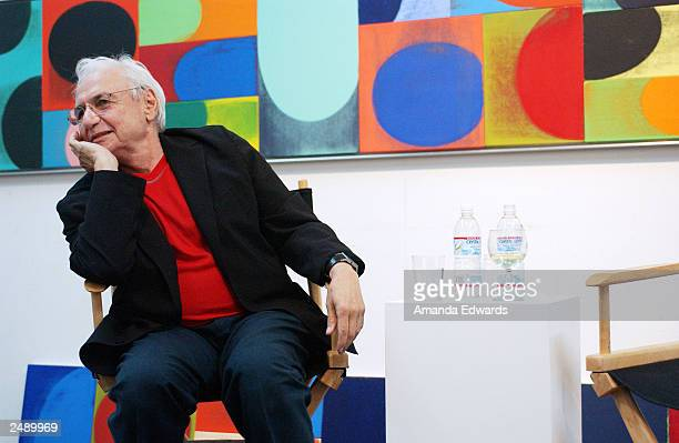 Architect Frank Gehry answers questions during the Santa Monica Museum of Art's Party with Frank Gehry at Chuck Arnoldi's art studio on September 12...