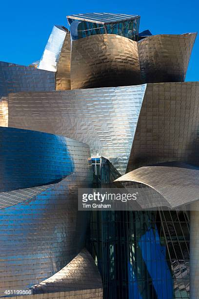 Architect Frank Gehry's Guggenheim Museum futuristic architectural design in titanium and glass at Bilbao Basque country Spain