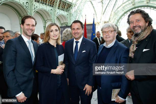 Architect Gauthier Destenay Actress Julie Gayet Prime Minister of Luxembourg Xavier Bettel Dominique Besnehard and artist Alberto Bertti attend the...
