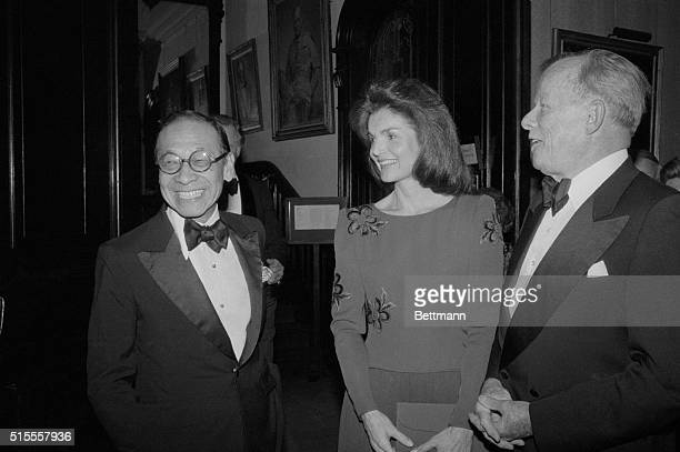 Architect I M Pei chats here with Jacqueline Kennedy Onassis who was on hand to congratulate him at National Arts Club's 82nd Annual Award Dinner Pei...