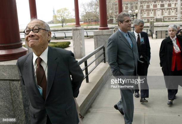 Architect IM Pei admires the architecture of Ellis Island after arriving for the Ellis Island Family Heritage Awards at the Ellis Island Museum on...