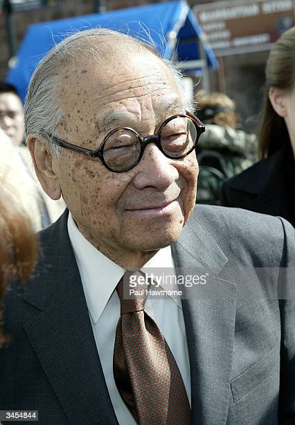 Architect IM Pei greets friends before taking the ferry to the Ellis Island Family Heritage Awards at the Ellis Island Museum on April 21 2004 in New...