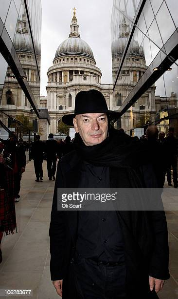 Architect Jean Nouvel admires the completed shopping centre 'One New Change' which he designed and opened to the public today on October 28 2010 in...