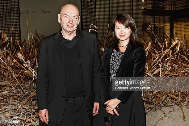 Architect Jean Nouvel who designed the new Gagosian Gallery and his companion Lida Guan attend a private dinner hosted at Gagosian Gallery in Honor...