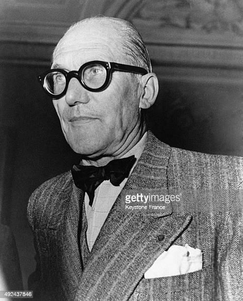 Architect Le Corbusier at the 'De Divina Proportione Congress' in Milan Italy