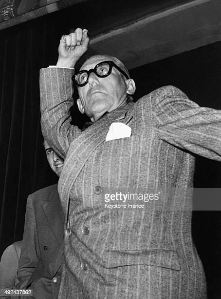 Architect Le Corbusier during the 'De Divina Proportione' congress in Milan Italy