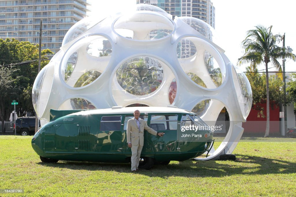 Architect Lord <a gi-track='captionPersonalityLinkClicked' href=/galleries/search?phrase=Norman+Foster&family=editorial&specificpeople=138395 ng-click='$event.stopPropagation()'>Norman Foster</a> at the Buckminster Fuller Dome on November 30, 2011 in Miami, Florida.