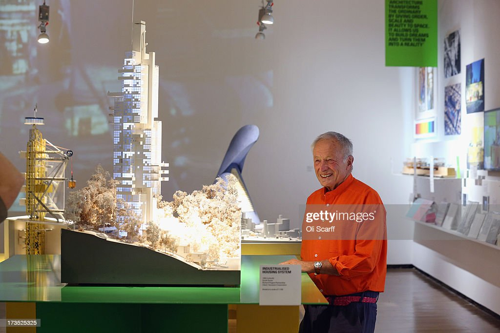 Architect Lord Rogers of Riverside attends the opening of his exhibition '<a gi-track='captionPersonalityLinkClicked' href=/galleries/search?phrase=Richard+Rogers+-+Architect&family=editorial&specificpeople=15114678 ng-click='$event.stopPropagation()'>Richard Rogers</a>