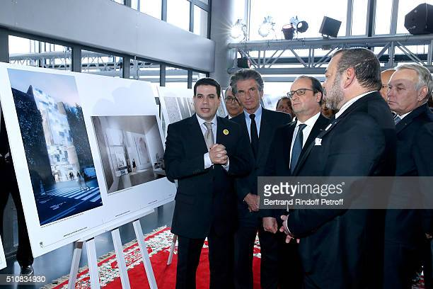Architect of the Project Tarik Oualalou President of the 'Institut du Monde Arabe' Jack Lang French President Francois Hollande King Mohammed VI of...