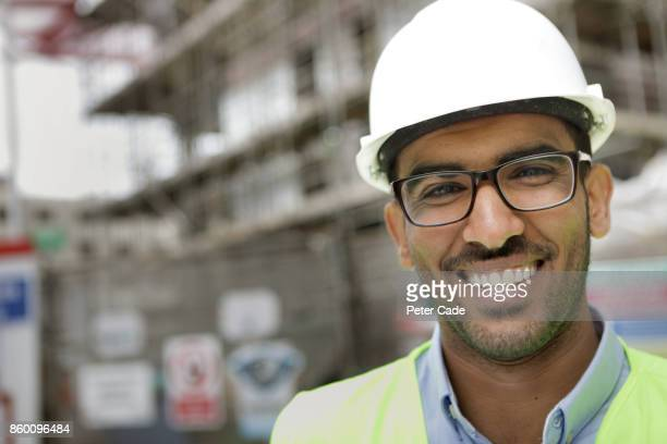 Architect on building site