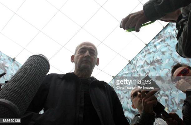 Architect Rem Koolhaas speaks to the press underneath the new inflatable canopy at the Serpentine Gallery Hyde Park London