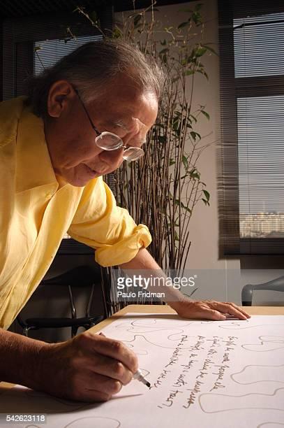 Architect Ruy Othake works in his office studio in Sao Paulo Brazil