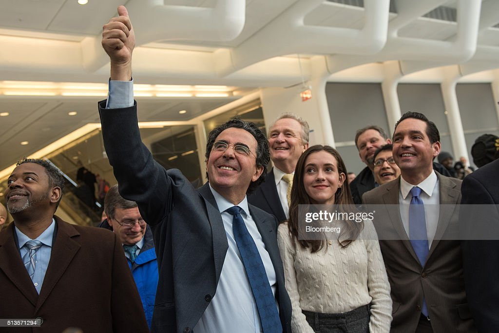 Architect <a gi-track='captionPersonalityLinkClicked' href=/galleries/search?phrase=Santiago+Calatrava&family=editorial&specificpeople=135336 ng-click='$event.stopPropagation()'>Santiago Calatrava</a>, center, gestures while standing inside the World Trade Center transit (WTC) hub in New York, U.S., on Thursday, March 3, 2016. The World Trade Center transit hub opens today after nearly 10 years and $4 billion dollars investment. The hub, with its distinctive winglike ribs designed by Calatrava, will connect the PATH commuter trains from New Jersey with the New York subway system as well as the trans-Hudson ferries. Photographer: Ron Antonelli/Bloomberg via Getty Images