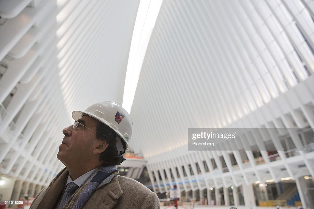 Architect <a gi-track='captionPersonalityLinkClicked' href=/galleries/search?phrase=Santiago+Calatrava&family=editorial&specificpeople=135336 ng-click='$event.stopPropagation()'>Santiago Calatrava</a> looks over the new World Trade Center PATH train station he designed in New York, U.S., on Friday, Feb. 19, 2016. The total cost of the World Trade Center rebuilding project will come in at the lower end of the $14.8 billion to $15.8 billion range projected four years ago, a Port Authority of New York and New Jersey official said. Photographer: Victor J. Blue/Bloomberg via Getty Images